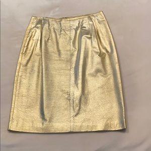Gold metallic leather skirt